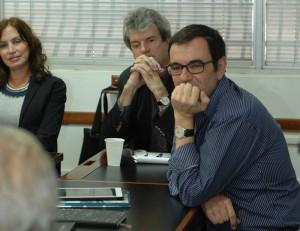 Laureano Márquez en Centro Javier el 11 de febrero de 2014. Al lado, el autor de este blog.