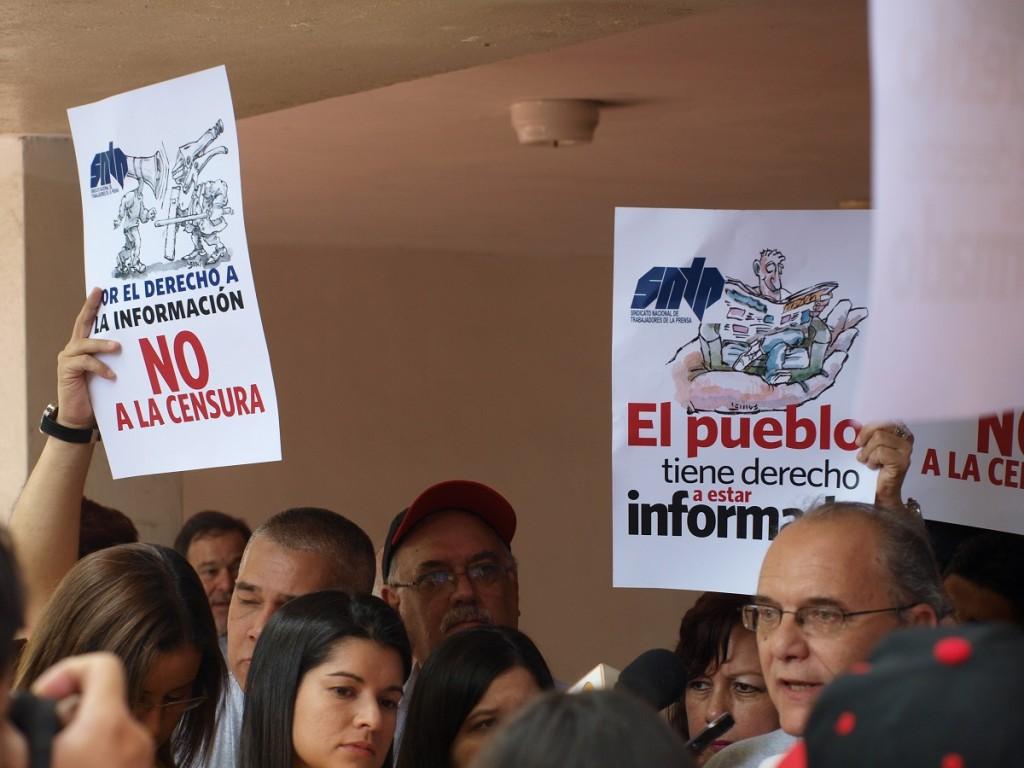 Manifestación en PB del edificio Pascal (sede del diario) el jueves pasado, 16/10/2014